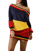 cheap Sweater Dresses-Women's Going out Street chic Cold Shoulder Sheath / T Shirt Dress - Striped / Color Block Backless Mini Boat Neck