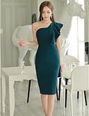 זול שמלות נשים-סירה מתחת לכתפיים אחיד - שמלה גזרת A צינור בגדי ריקוד נשים