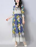 זול שמלות נשים-מקסי קפלים / דפוס, טלאים - שמלה סווינג כותנה / פשתן בוהו / סגנון סיני חגים / חוף בגדי ריקוד נשים / אביב