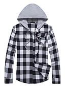 cheap Men's Shirts-Men's Active Cotton Shirt - Plaid Hooded / Long Sleeve