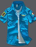 olcso Férfi pólók-Katonai Cápagallér Vékony Férfi Ing - Egyszínű, Alap