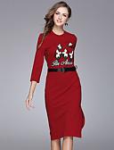 baratos Calças Femininas-Mulheres Moda de Rua Evasê / Bainha Vestido - Fenda, Listrado Médio