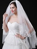 זול הינומות חתונה-שתי שכבות סגנון מודרני / חתונה / סגנון מינימליסטי הינומות חתונה צעיפי מרפק עם גדילים (פרנזים) / שחבור תחרה / טול / סגלגל