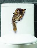 olcso Kvarc-Állatok Falimatrica 3D-s falmatricák WC-matricák, Vinil lakberendezési fali matrica Toilet