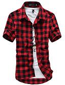 זול חולצות לגברים-משובץ סגנון רחוב חולצה - בגדי ריקוד גברים רקום