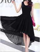 cheap Women's Dresses-Women's Going out Street chic Sheath Chiffon Swing Dress - Solid Color Black, Layered Ruffle Pleated High Waist Asymmetrical