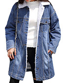 cheap Women's Blazers & Jackets-Women's Cotton Denim Jacket - Solid Colored Shirt Collar