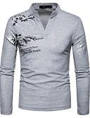 billige T-shirts og undertrøjer til herrer-V-hals Herre - Geometrisk T-shirt Sort L / Langærmet / Forår / Efterår
