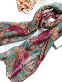 cheap Women's Scarves-Women's Cotton Polyester Rectangle, Casual Print Spring Summer Blue Green