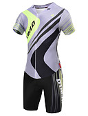 cheap Cocktail Dresses-Malciklo Men's Short Sleeve Triathlon Tri Suit - Gray Geometic / British Bike Breathable, Quick Dry Coolmax®, Lycra Geometic / High Elasticity / Advanced / SBS Zipper