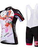 halpa Iltapuvut-Malciklo Naisten Lyhythihainen Pyöräily jersey ja haalarishortsit - Musta / Valkoinen / Musta / punainen Pyörä Vaatesetit, Nopea kuivuminen, Anatominen tyyli, Ultraviolettisäteilyn kestäv / Spandex