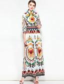 זול שמלות נשים-צווארון חולצה מקסי בסיסי, פרחוני קולור בלוק - שמלה סווינג בוהו בגדי ריקוד נשים