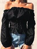 זול טישרט-אחיד סירה רחב טישרט - בגדי ריקוד נשים
