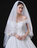 זול הינומות חתונה-שתי שכבות סגנון מודרני ירח דבש נסיכות סגנון מינימליסטי חתונה הינומות חתונה צעיפי מרפק עם גדילים (פרנזים) שחבור תחרה טול