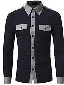 זול חולצות לגברים-אחיד סגנון רחוב חולצה - בגדי ריקוד גברים / שרוול ארוך