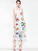 baratos Vestidos Femininos-Mulheres Fofo Boho Sereia Vestido - Estampado, Floral Estampa Colorida Com Alças Médio Altura dos Joelhos