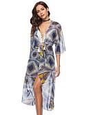 זול חולצה-גיאומטרי צווארון V בוהו חוף מידות גדולות, חולצה - בגדי ריקוד נשים שרוול עטלף