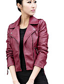 cheap Women's Leather & Faux Leather Jackets-Women's Daily / Going out / Work Street chic / Punk & Gothic Spring / Fall Short Leather Jacket, Solid Colored Shirt Collar Long Sleeve PU Black / Wine XL / XXL / XXXL