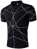 זול חולצות לגברים-גיאומטרי צווארון חולצה כותנה, Polo - בגדי ריקוד גברים / שרוולים קצרים