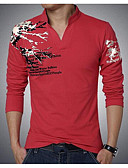 baratos Jaquetas & Casacos para Homens-Homens Tamanhos Grandes Camiseta Moda de Rua Estilo Clássico, Côr Sólida Colarinho Chinês / Manga Longa