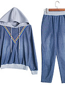 cheap Women's Two Piece Sets-Women's Cotton Slim Set - Solid Color Pant Hooded / Spring