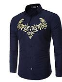 זול חולצות לגברים-גיאומטרי צווארון קלאסי רזה חולצה - בגדי ריקוד גברים דפוס / שרוול ארוך
