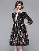 baratos Vestidos Femininos-Mulheres Para Noite Vintage / Sofisticado Solto Vestido - Bordado, Floral Cintura Alta Altura dos Joelhos
