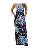 זול שמלות מקרית-סירה רחב מותניים גבוהים מקסי Ruched, פרחוני - שמלה סווינג סגנון רחוב ליציאה בגדי ריקוד נשים