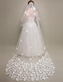 hesapli Gelin Duvakları-Tek kat Çiçek Stili / File / Dönüştürülebilir Elbisi Gelin Duvakları Kilise Başlığı ile Dağınık Boncuklu Çiçek Motifi Tarzı Tül / Oval