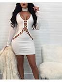 baratos Vestidos de Mulher-Mulheres Bandagem Para Noite Moda de Rua Tubinho Vestido - Retro Fenda, Sólido Decote em V Profundo Cintura Alta Altura dos Joelhos