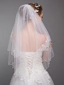 baratos Véus de Noiva-Duas Camadas Estilo Moderno / Casamento / Estilo simples Véus de Noiva Véu Cotovelo com Franja / Recortes Tule / Corte de Anjo / Cascata
