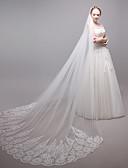 povoljno Večernje haljine-Two-tier Moderna Stil cvijeta Pribor Čipka aplicirano Edge Ogroman Vjenčan Princeza Europska Čipka Vjenčanje Vjenčani velovi Rumenilo