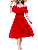 tanie Sukienki-Damskie Bawełna Bufka Luźna Sukienka - Solidne kolory, Pofałdowany Do kolan