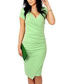 זול שמלות מודפסות-צווארון V א-סימטרי טלאים, אחיד - שמלה צינור רזה כותנה בסיסי חגים בגדי ריקוד נשים