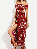 cheap Women's Dresses-Women's Swing Dress - Floral Red, Print Maxi Off Shoulder