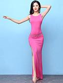 baratos Camisolas e Pijamas Femininos-Dança do Ventre Roupa Mulheres Treino Modal Com Fenda Sem Manga Alto Vestido / Calções