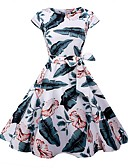tanie Sukienki-Damskie Vintage / Moda miejska Szczupła Spodnie - Kwiaty Tropikalny liść, Nadruk Biały / Impreza / Wzory kwiatów