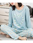 abordables Batas y ropa de dormir-Mujer Escote en U Profunda Traje Pijamas Floral