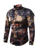 abordables Camisas de Hombre-Hombre Lujo / Vintage Discoteca Estampado - Seda / Algodón Camisa Delgado Abstracto Gris Oscuro L / Manga Larga