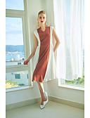 baratos Calcinhas-Mulheres Delgado Bainha Vestido - Básico Decote V Médio