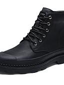 hesapli Korseler ve Bustiyerler-Erkek Ayakkabı Deri Sonbahar / Kış Rahat Çizmeler Bootiler / Bilek Botları Günlük için Siyah