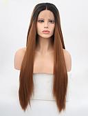 זול טישרט-סינתטי תחרה פאות הקדמי ישר שיער סינטטי שיער טבעי חום פאה בגדי ריקוד נשים ארוך חזית תחרה שחור / בינוני אובורן