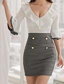 זול שמלות נשים-V עמוק מותניים גבוהים מעל הברך דפוס, אחיד - שמלה צינור שרוול התלקחות בסיסי עבודה בגדי ריקוד נשים