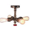 baratos Calcinhas-4-cabeça loft retro estilo industrial tubulação de água semi flush mount luz acabamento restaurante cafe bar lâmpada do teto