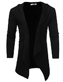 cheap Men's Sweaters & Cardigans-Men's Daily Solid Color Long Sleeve Long Cardigan, V Neck Spring Black / Dark Gray L / XL / XXL
