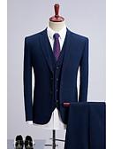 billige Dresser-Marineblå Prikker Standard Polyester Dress - Tynn spiss Enkelt Brystet To-knapp