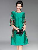 זול שמלות נשים-מעל הברך רקום, פרחוני - שמלה גזרת A וינטאג' בגדי ריקוד נשים