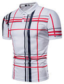 cheap Men's Shirts-Men's Business Basic Plus Size Polo - Plaid, Print Shirt Collar