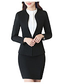 cheap Women's Blazers & Jackets-Women's Business Active Cotton Skinny Suits-Solid Colored,Basic / Spring