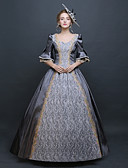 cheap Historical & Vintage Costumes-Baroque Renaissance Costume Women's Dress Outfits Party Costume Masquerade Gray Vintage Cosplay 3/4 Length Sleeve Puff / Balloon Sleeve Floor Length Long Length Ball Gown Plus Size Customized